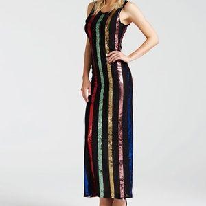 NWT GUESS Womens Sleeveless Rainbow Sequin Maxi